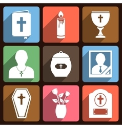 Funeral icons with long shadow vector