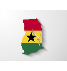 Ghana country map with shadow effect presentation vector image vector image