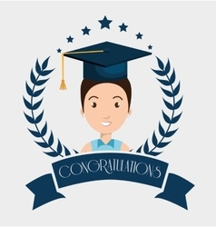 Graduation card isolated icon vector