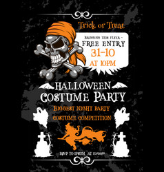 Halloween holiday party poster with pirate skull vector