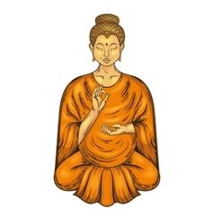 Happy buddha sitting in lotus pose teaching vector