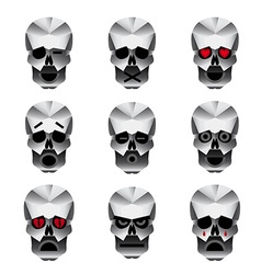 Happy skull emotion icons set vector