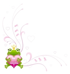 Happy valentines day border frog prince heart - vector