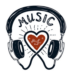 I love music hand drawn headphones design element vector