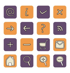 Icon or button violet and orange tool set vector