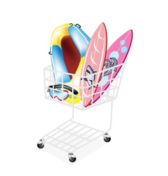 Inflatable boat and surfboards in shopping cart vector