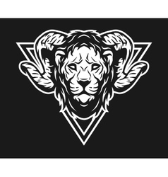 lion with horns and geometric symbols vector image