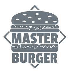 Master burger logo simple gray style vector