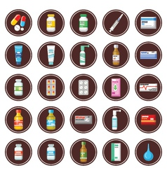 Medicament set of icons vector