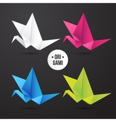 Paper origami crane bird icon colorful vector
