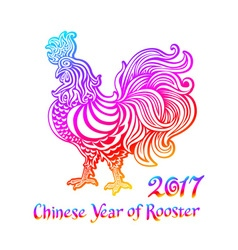 Rainbow Rooster Rooster Chinese zodiac symbol of vector image vector image