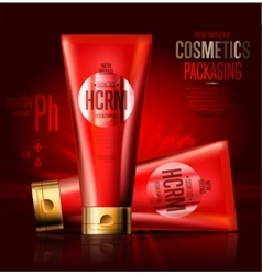 Realistic cosmetic shave lotion red container vector