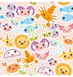Seamless pattern funny kawaii zodiac sign vector
