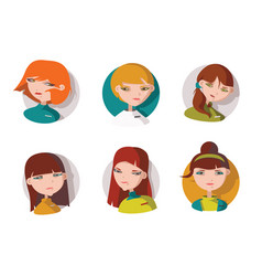 Set with 6 lovely girls heads dressed like shop vector