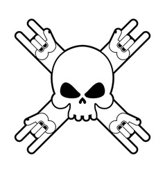 Skull with hands rock sign Logo for fans of hard vector image vector image