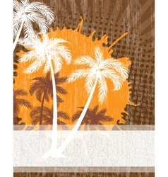 Summer background with grunge beach palms vector image vector image