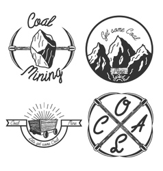 Vintage coal mining emblems vector