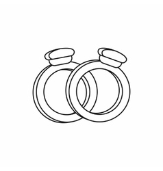 Wedding rings icon outline style vector image