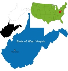 West virginia map vector image vector image