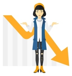Woman with declining chart vector