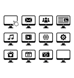 Computer screen black icons set vector