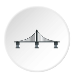 Bridge with steel supports icon flat style vector