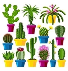 Cute cartoon cactus collection vector image