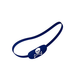 Blue eye patch with skull symbol vector