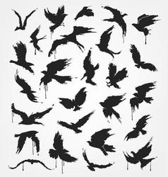 Figures of flying birds in grunge style vector
