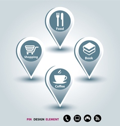 Modern design template mapping pins icon vector