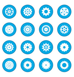 Gear icon blue vector