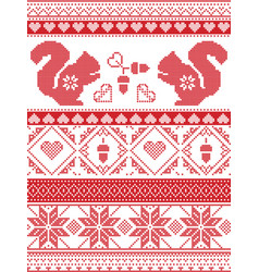 Nordic christmas pattern with squirrel acorns vector