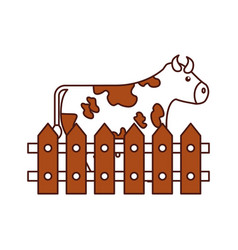 Cow farm in fence vector