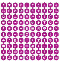 100 south america icons hexagon violet vector