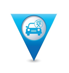 Car with tools icon map pointer blue vector