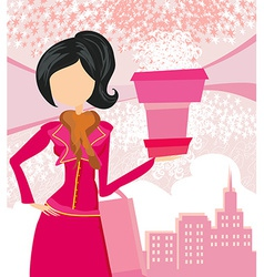 abstract fashion girl Shopping vector image