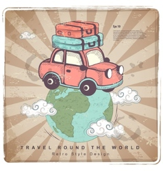 Retro travel car  earth vector