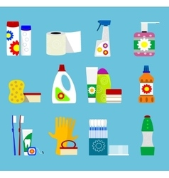 Hygiene and cleaning products icons vector