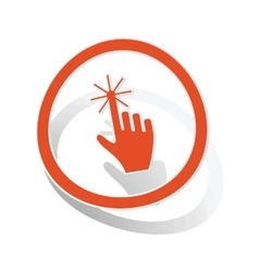 Hand cursor sign sticker orange vector