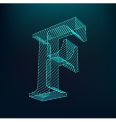 The letter f polygonal letter low poly model vector
