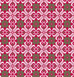 Nordic seamless pattern on red vector