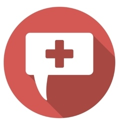Medical answer flat round icon with long shadow vector