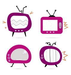 Retro pink tv collection vector