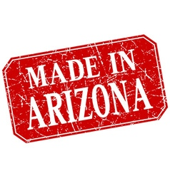 Made in arizona red square grunge stamp vector