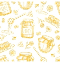 honey seamless pattern Vintage hand drawn vector image