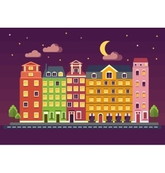 Color houses on night vector