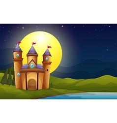A castle in a full moon scenery vector