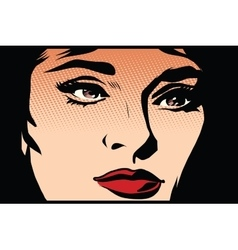 Beautiful girl face in the dark noir vector