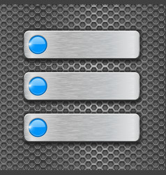 blank metal plates on perforated background vector image vector image