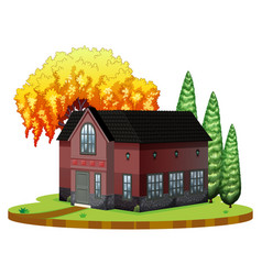 brickhouse and willow tree on the park vector image